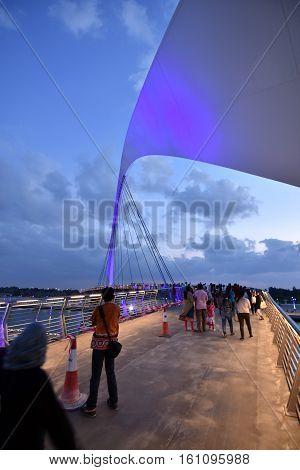 Walking Bridge at the  new Dubai Canal, U.A.E