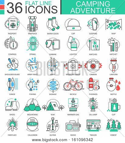 Vector Camping adventure flat line outline icons for apps and web design. Camping adventure icon