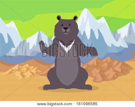 Bear in the mountains icon. Brown bear in Asia mountains on map. Mountain ranges Altai, Ghats, Himalayas, Kunlun, Tian Shan, Ural and Zagros Mountains symbol. Mountain chain icon. Vector illustration