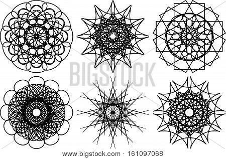 Set of six spirograph circular shapes. Design elements isolated on white background. Flowers and snowflakes. Vector