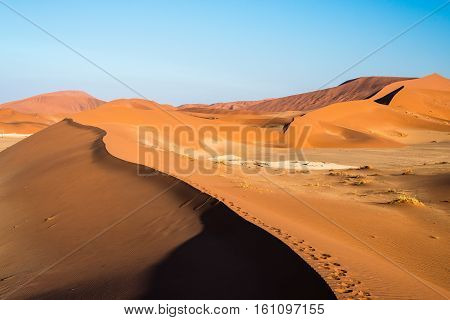 Scenic Ridges Of Sand Dunes In Sossusvlei, Namib Naukluft National Park, Best Tourist And Travel Att