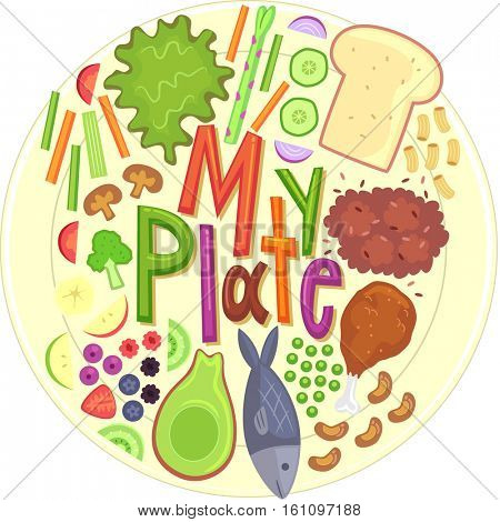 Typography Illustration Featuring the Phrase My Plate Surrounded by Different Types of Food Categorized as Healthy