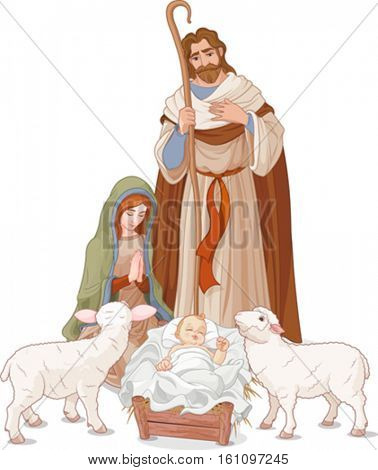 Christmas nativity scene with Mary, Joseph and baby Jesus