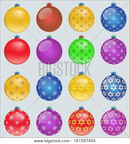 set of colorful christmas balls isolated on white , x-mas balls