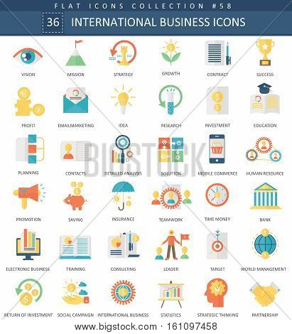 Vector International business color flat icon set. Elegant style design International business web icon
