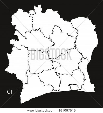 Ivory Coast Districts Map Black And White Illustration