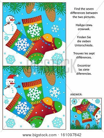 Winter, New Year or Christmas visual puzzle: Find the seven differences between the two pictures with colorful knitted socks. Answer included.