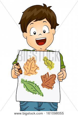 Illustration of a Little Boy Presenting His Drawing Made from Tracing the Outlines of Leaves Using Crayons
