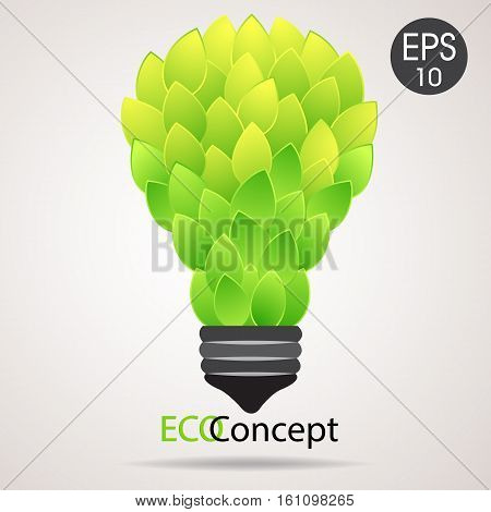 Vector eco lamp. Lightbulb from green leaves. Eco concept for your design