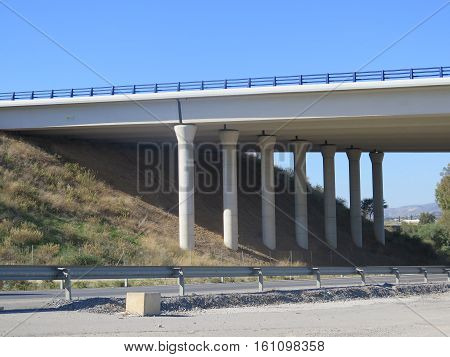 Supporting Pillars On Highway Overpass