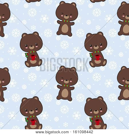 Seamless vector pattern with cute bears holding cofee cups.