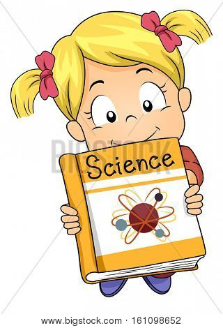 Illustration of a Cute Little Girl with Big Round Eyes Offering a Science Book