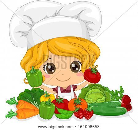 Illustration of a Cute Little Girl in a Toque Presenting Freshly Picked Vegetables