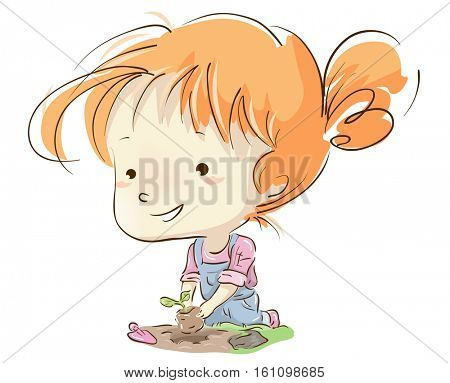 Illustration of a Cute Little Girl in a Jumper Replanting a Growing Sapling