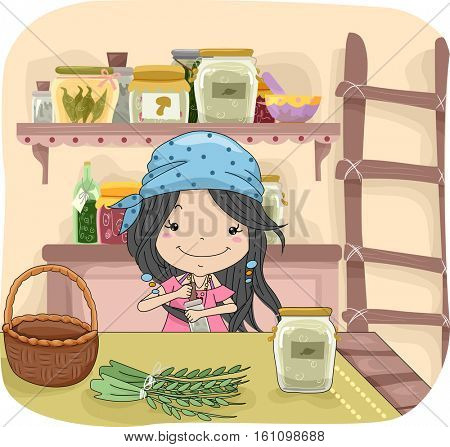 Illustration of a Cute Little Girl in a Bandanna Mixing Different Herbs to Create a Potion