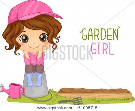 Illustration of a Little Girl Sitting on a Bucket Near a Garden Plot Next to Gardening Tools