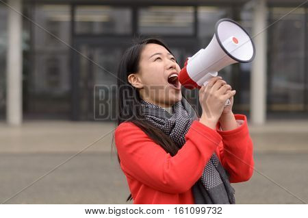 Modern Young Chinese Woman Protesting