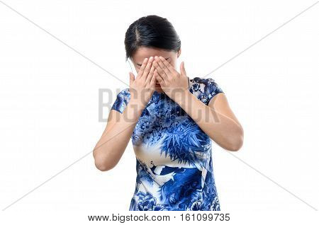 Young Chinese Woman Covering Her Eyes