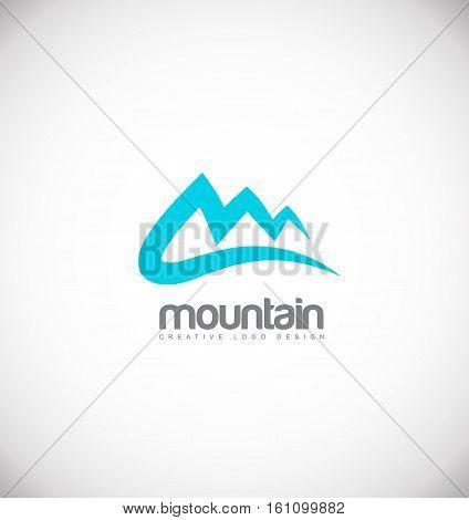 Blue mountain vector logo icon sign design template