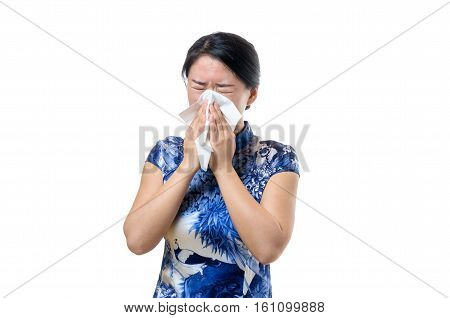 Unwell Young Chinese Woman Blowing Her Nose