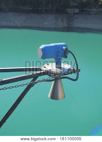 Flood water siren at Reservoir in Ardales Region of Andalusia Spain