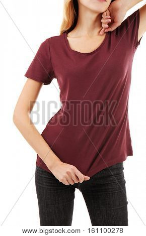 Young woman in blank maroon t-shirt on white background, close up
