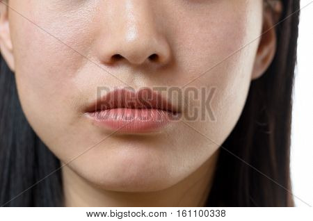 View Of The Lower Facial Features Of A Woman