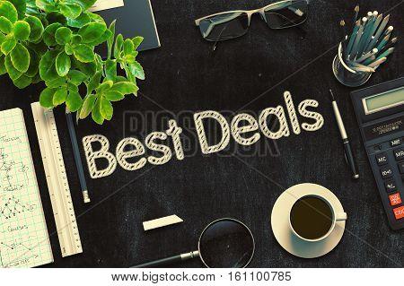 Best Deals on Black Chalkboard. 3d Rendering. Toned Image.