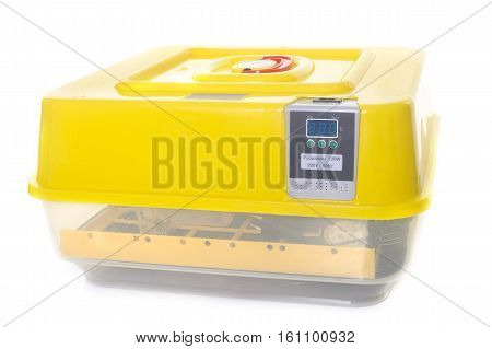 incubator for eggs in front of white background