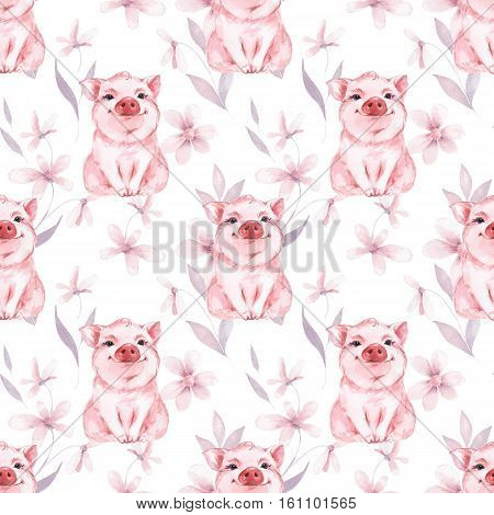Pig and flowers. Hand pdinted seamless watercolor pattern.