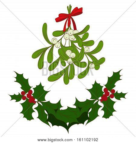 traditional symbols of Christmas a sprig of mistletoe with a red bow holly