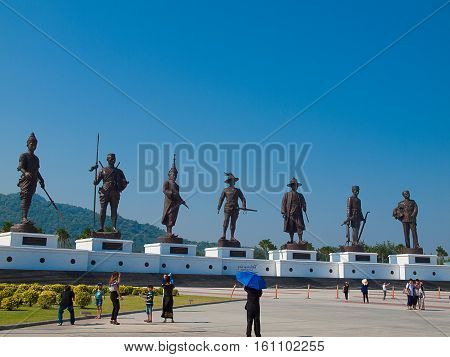 PRACHUAP KHIRI KHAN THAILAND - December 11: Tourists visit Rajabhakti Park Foundation Under the Royal Patronage of His Royal Highness Crown Prince on December 11 2016 in Prachuap Khiri Khan Thailand.