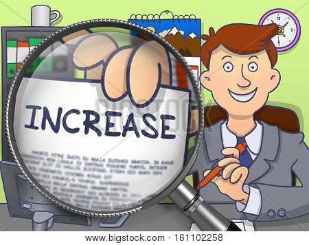 Increase on Paper in Businessman's Hand through Magnifier to Illustrate a Business Concept. Multicolor Doodle Style Illustration.