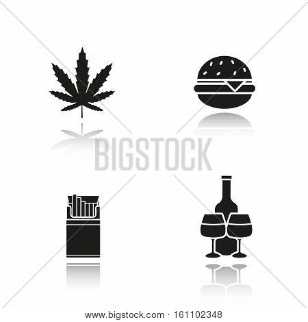 Bad habits drop shadow black icons set. Unhealthy lifestyle addictions. Marijuana leaf, fast food burger, open cigarette pack, alcohol bottle with glasses. Isolated vector illustrations