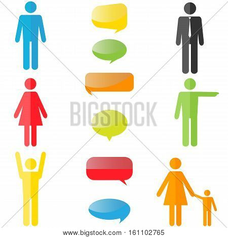 colorful people icons with colorful speech bubbles