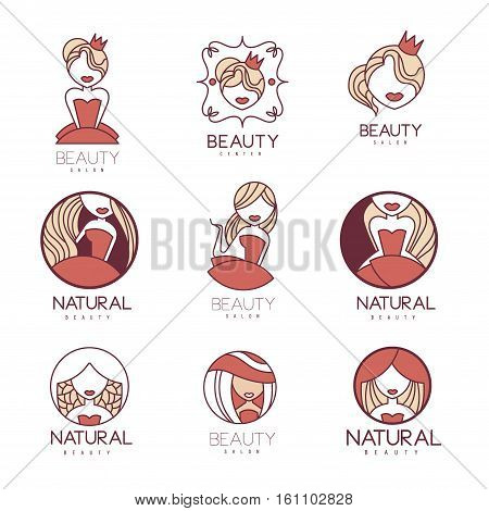 Natural Beauty Salon Set Of Hand Drawn Cartoon Outlined Sign Design Templates With Female Character. Collection Of Promotion Ads For Cosmetology Services And Beautifying Procedures.