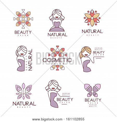Natural Beauty Salon Set Of Hand Drawn Cartoon Outlined Sign Design Templates With Female Character And Logo Drawings. Collection Of Promotion Ads For Cosmetology Services And Beautifying Procedures.