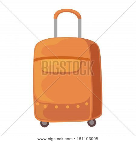 Brown Suitcase On Wheels With Telescopic Handle Item From Baggage Bag Cartoon Collection Of Accessories. Personal Travel Luggage Piece Isolated Vector Icon.