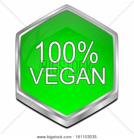 green 100% Vegan Button - 3D illustration