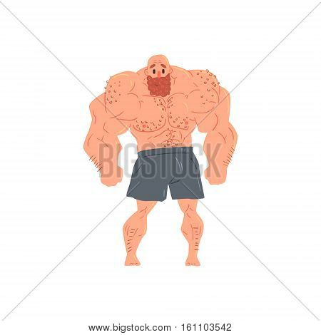 Man In Black Boxers Bodybuilder Funny Smiling Character On Steroids Demonstrating Muscles In Front Lat Spread Pose As Strongman Routine. Muscly Man Showing Off In Muscleman Contest Vector Cartoon Illustration
