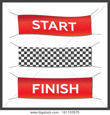 Banner set start finish illustration. Starting finishing and checkered banners