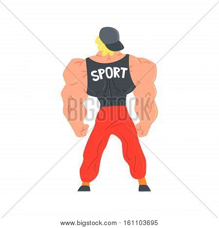 Man In Red Sportive Pants And Cap Bodybuilder Funny Smiling Character On Steroids Demonstrating Muscles As Strongman Routine. Muscly Man Showing Off In Muscleman Contest Vector Cartoon Illustration