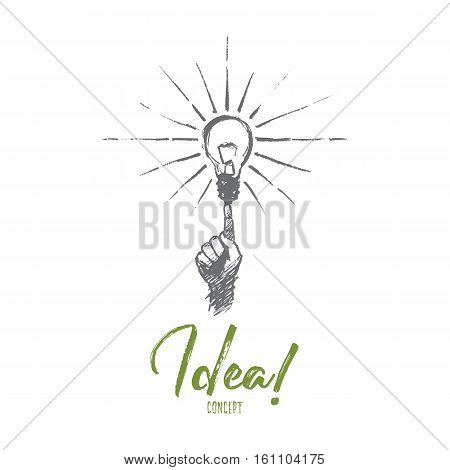 Vector hand drawn Idea concept sketch. Human finger pointing at bright light bulb meaning getting great idea. Lettering Idea concept