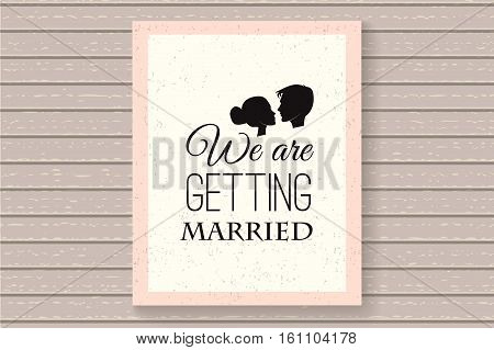 We are getting married. Save the date. Wedding invitation with couple. Vector Illustration Isolated On White Background