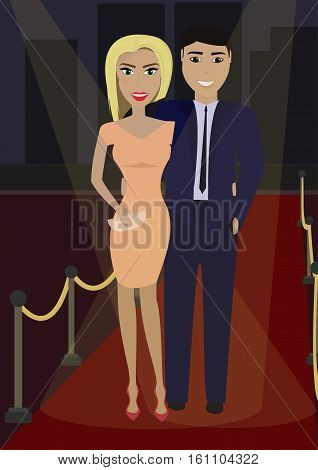 Elegant couple in formal dress on the red carpet in the spotlight. Vector illustration