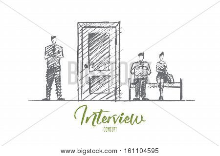 Vector hand drawn interview concept sketch. Business people sitting and standing near closed door and waiting for interview. Lettering Interview concept