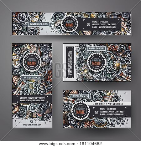 Corporate Identity vector templates set design with doodles hand drawn Winter theme. Colorful banner, id cards, flayer design. Templates set
