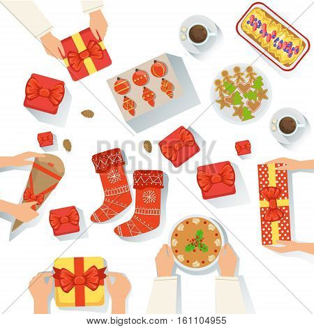 Family With The Traditionally Served Christmas Celebration Meal View From Above Cartoon Illustration. Vector Holyday Object Set With Only Hands Visible, Presents And Classic Holiday Food.