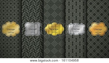 Golden vintage frame on black pattern background. Vector illustration for retro design. Gold abstract box. Label set. Elegant silver foil. Fashion dark interior decor. Ornamental wallpaper