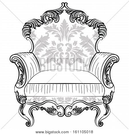 Exquisite Fabulous Imperial Baroque armchair in luxurious fabric ornament. Vector French Luxury rich intricate structure. Victorian Royal Style decor